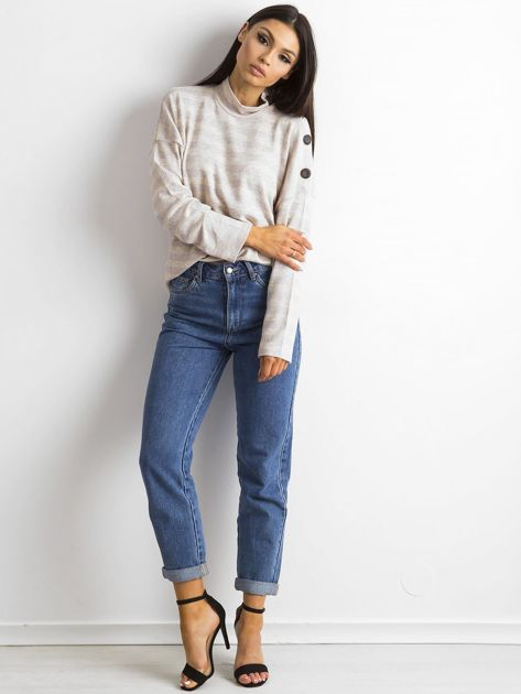 Cienki sweter w paski z półgolfem różowy                              zdj.                              4