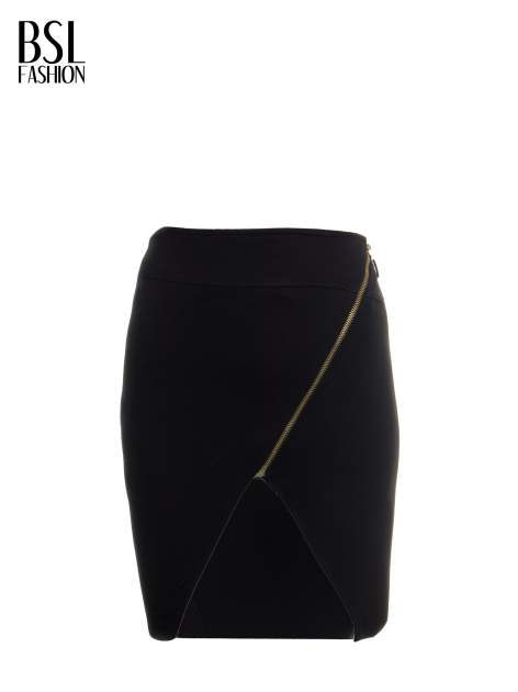 Czarna asymetryczna spódnica ze złotym zamkiem                                  zdj.                                  5