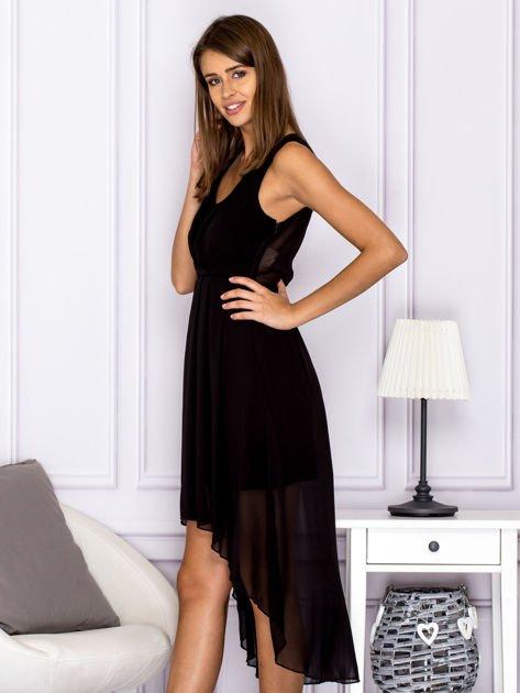 Czarna asymetryczna sukienka maxi                              zdj.                              5