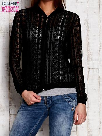 Czarna ażurowa bluzka na suwak                                  zdj.                                  1