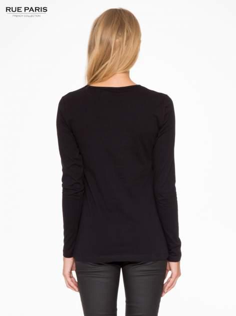 Czarna basicowa bluzka z długim rękawem                                  zdj.                                  4
