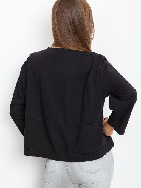 Czarna bawełniana bluza oversize                              zdj.                              2