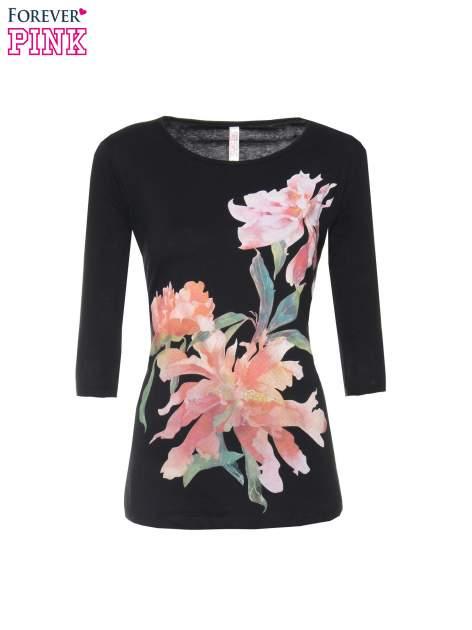 Czarna bawełniana bluzka z motywem kwiatowym                                  zdj.                                  5