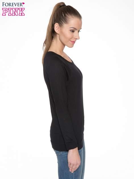Czarna bawełniana bluzka z rękawami typu reglan                                  zdj.                                  3