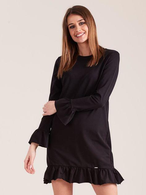 Czarna bawełniana sukienka z falbanką                              zdj.                              1
