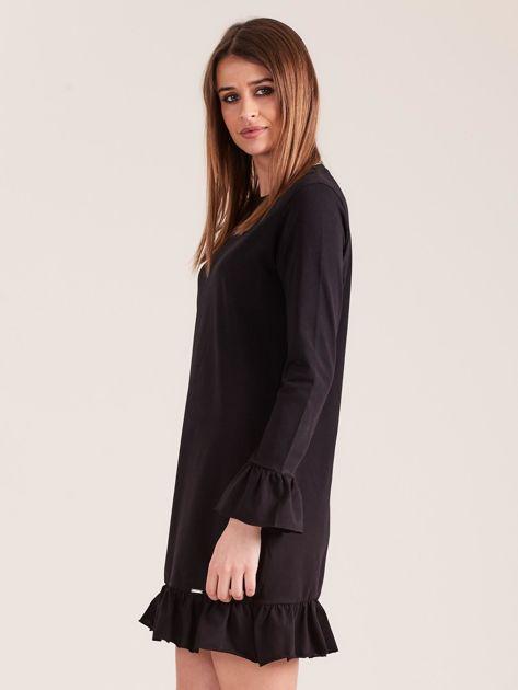Czarna bawełniana sukienka z falbanką                              zdj.                              3