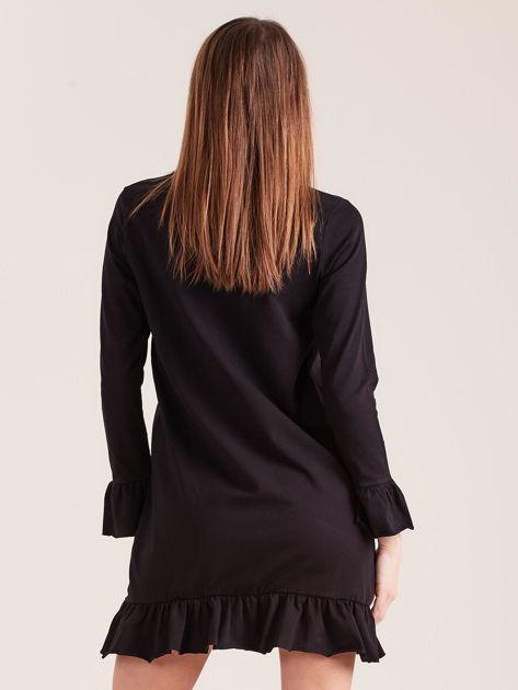 Czarna bawełniana sukienka z falbanką                              zdj.                              2
