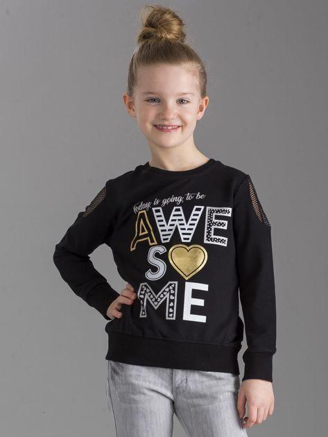 Czarna bluza dla dziewczynki z nadrukiem                              zdj.                              1
