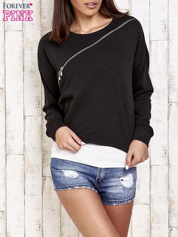 Czarna bluza dresowa z asymetrycznym suwakiem