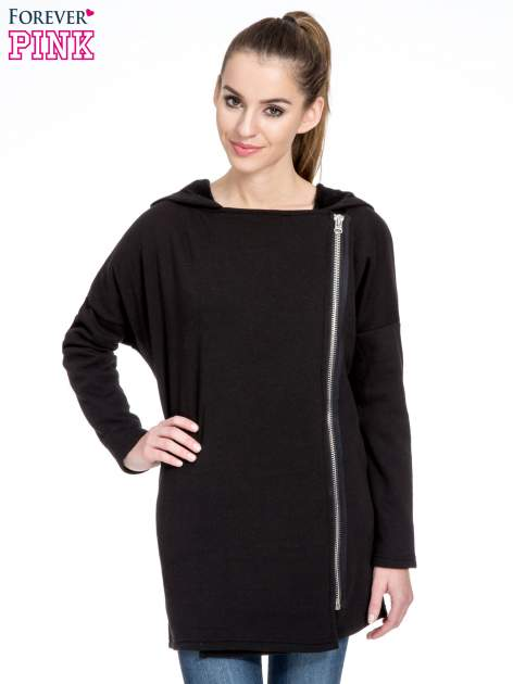 Czarna bluza dresowa z kapturem i suwakiem z boku                                  zdj.                                  1