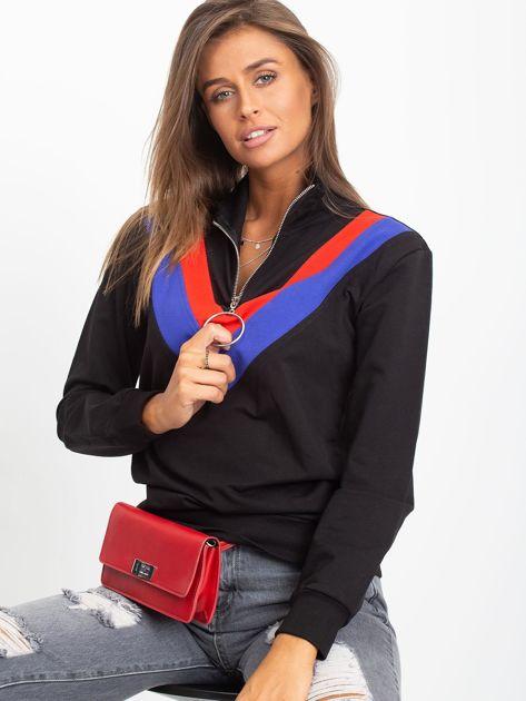 Czarna bluza dresowa z trójkątną aplikacją                              zdj.                              4