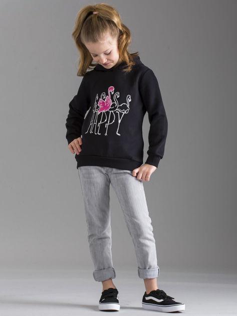 Czarna bluza dziewczęca z futrzanym kapturem                              zdj.                              4