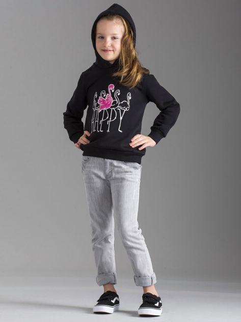 Czarna bluza dziewczęca z futrzanym kapturem                              zdj.                              6