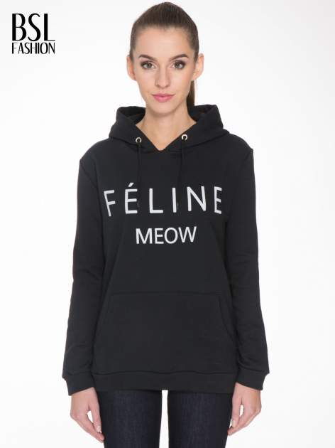 Czarna bluza kangur z kapturem i nadrukiem FÉLINE MEOW                                  zdj.                                  1