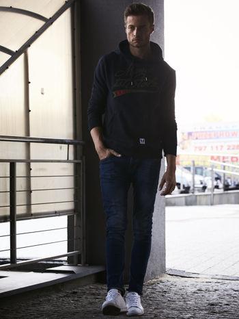 Czarna bluza męska z kapturem i naszywkami                                  zdj.                                  8