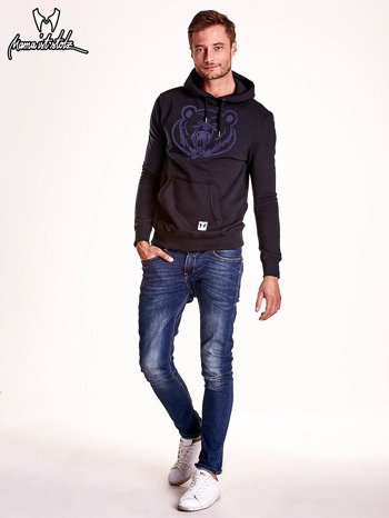Czarna bluza męska z kapturem i zwierzęcym nadrukiem                                  zdj.                                  3