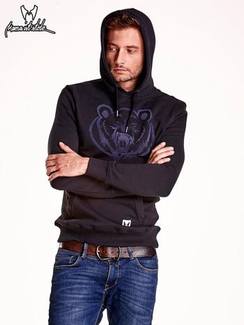 Czarna bluza męska z kapturem i zwierzęcym nadrukiem                                  zdj.                                  6