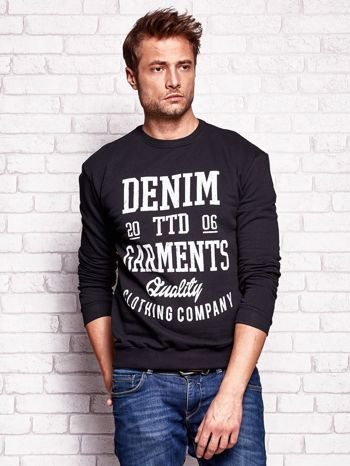 Czarna bluza męska z miejskim nadrukiem                                  zdj.                                  1