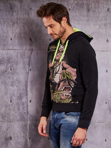 Czarna bluza męska z raperskim nadrukiem                                   zdj.                                  3
