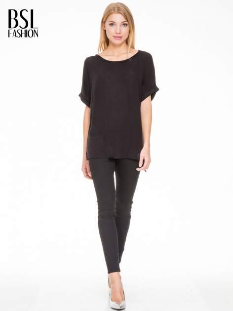 Czarna bluza oversize z dekoltem typu pajęczyna                                  zdj.                                  2