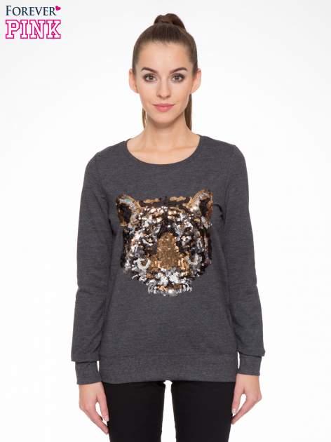 Czarna bluza z aplikacją tygrysa z cekinów                                  zdj.                                  1