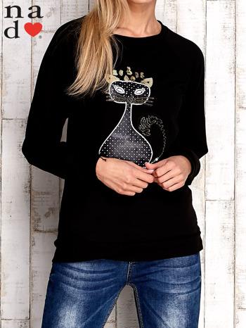 Czarna bluza z cekinowym kotem                                  zdj.                                  1