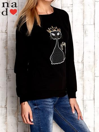 Czarna bluza z cekinowym kotem                                  zdj.                                  3