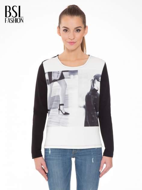 Czarna bluza z fotografią w stylu fashion                                  zdj.                                  1