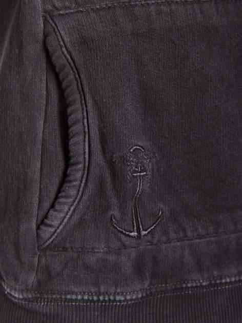 Czarna bluza z kapturem z efektem sprania                                  zdj.                                  6