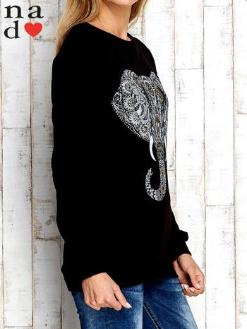 Czarna bluza z nadrukiem słonia                                  zdj.                                  3