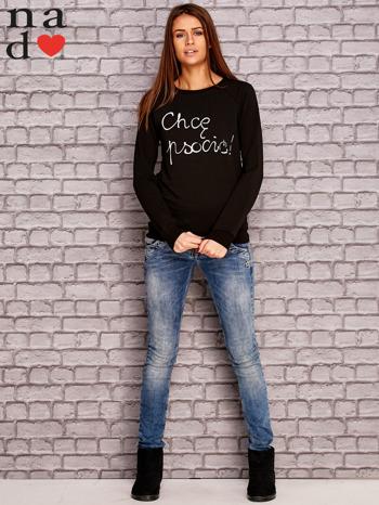Czarna bluza z napisem CHCĘ PSOCIĆ                                  zdj.                                  4