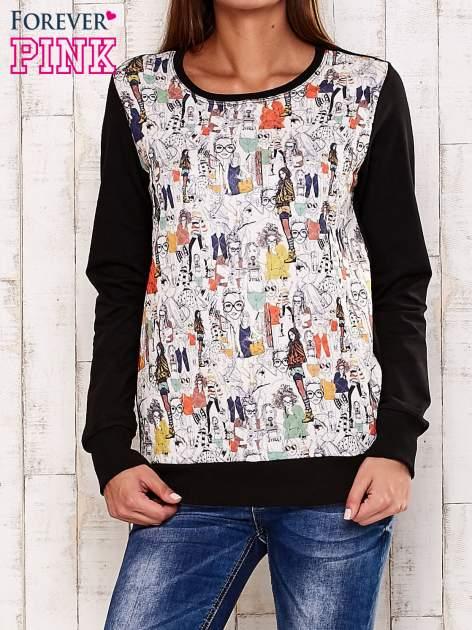 Czarna bluza z rysunkowym nadrukiem                                  zdj.                                  1