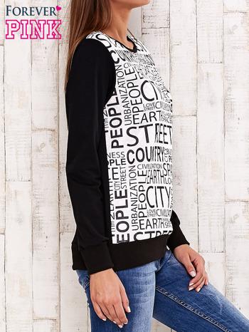 Czarna bluza z tekstowym nadrukiem                                  zdj.                                  3