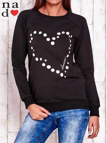 Czarna bluza z wzorem serca                                  zdj.                                  1