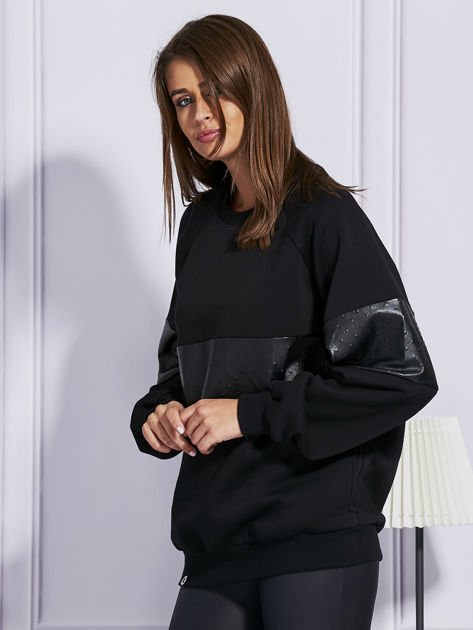 Czarna bluza ze skórzanymi wstawkami                                  zdj.                                  5