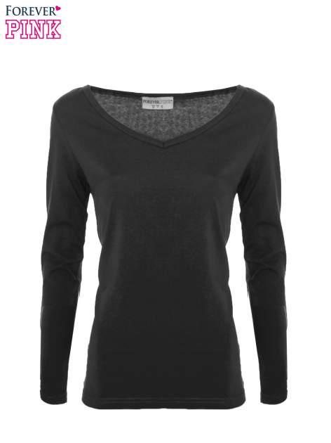 Czarna bluzka basic z dekoltem w serek                                  zdj.                                  3