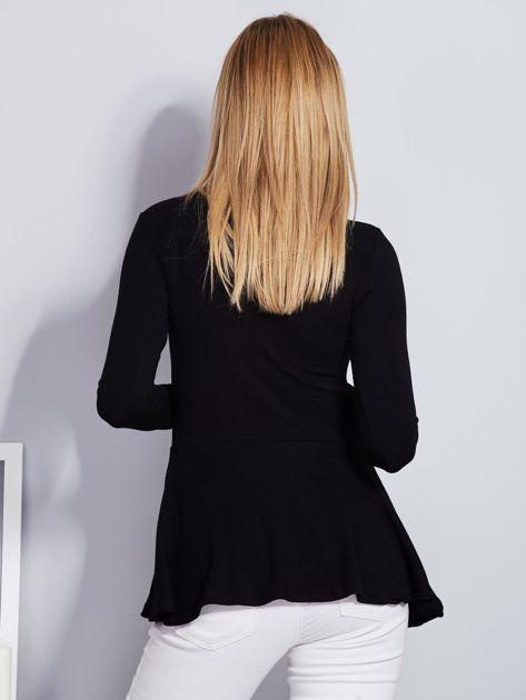Czarna bluzka lace up z baskinką                              zdj.                              2