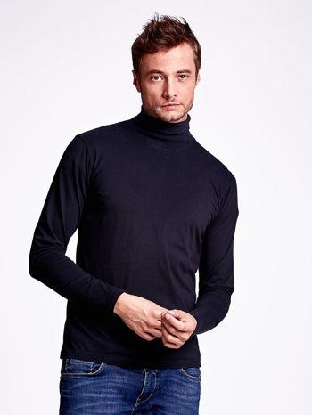 Czarna bluzka męska z golfem                                  zdj.                                  1