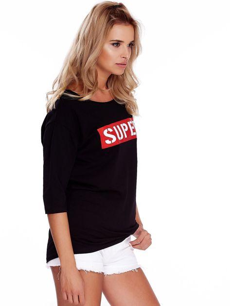 Czarna bluzka oversize z napisem SUPER                               zdj.                              3