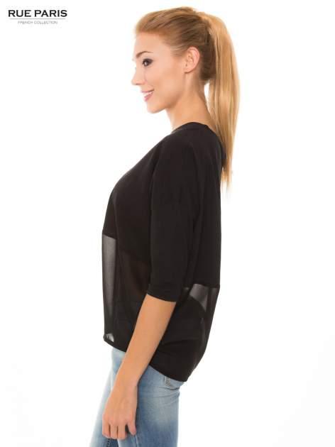 Czarna bluzka oversize z siateczkowym dołem                                  zdj.                                  2