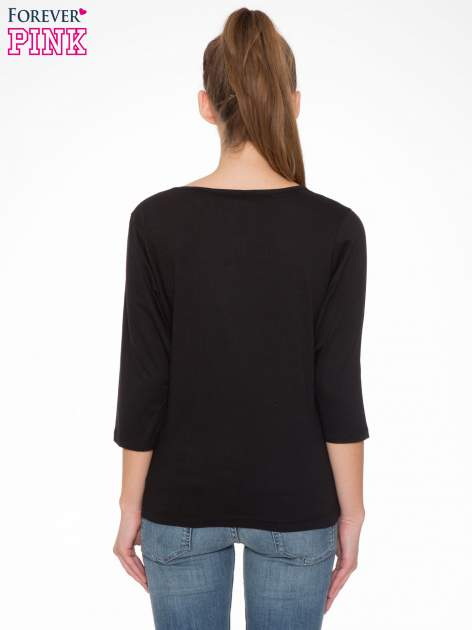 Czarna bluzka w stylu fashion z nadrukiem LA VIE EST BELLE                                  zdj.                                  4