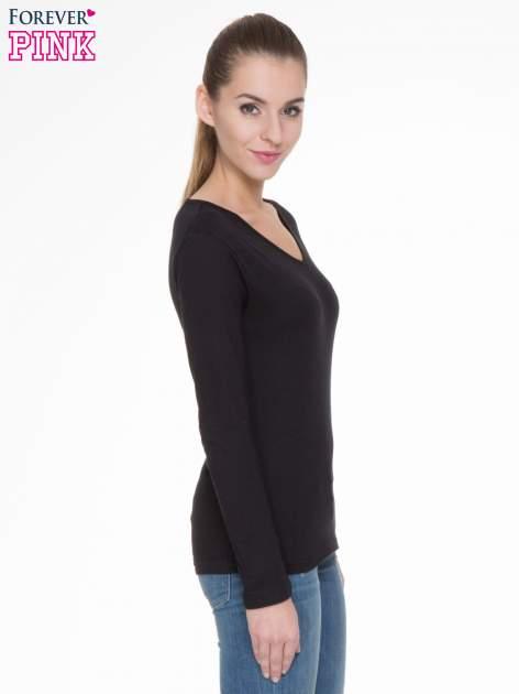 Czarna bluzka z długim rękawem z bawełny                                  zdj.                                  3