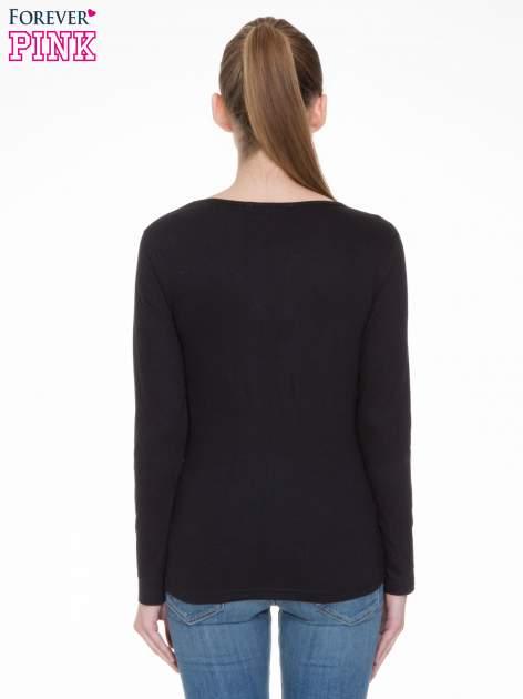 Czarna bluzka z długim rękawem z bawełny                                  zdj.                                  4