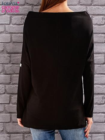 Czarna bluzka z koralikową aplikacją                                  zdj.                                  4