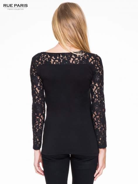 Czarna bluzka z koronkowymi rękawami                                  zdj.                                  4