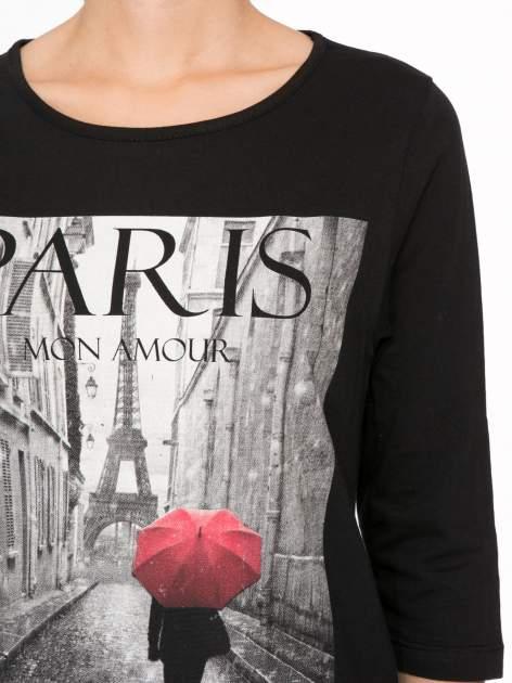 Czarna bluzka z motywem Paryża                                  zdj.                                  6