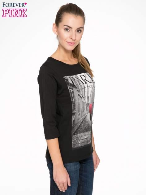Czarna bluzka z motywem Paryża                                  zdj.                                  3