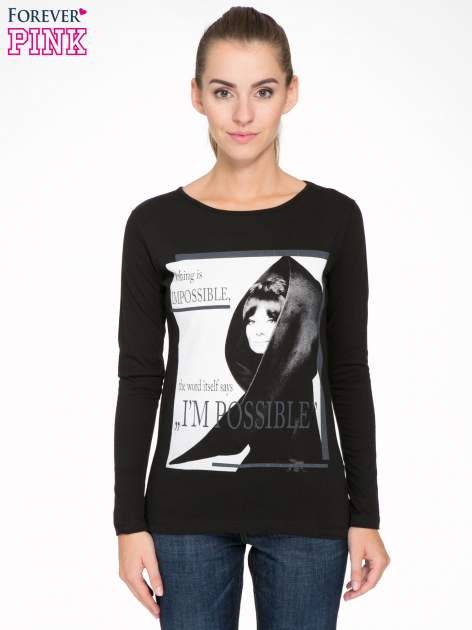 Czarna bluzka z nadrukiem Audrey Hepburn                                  zdj.                                  1