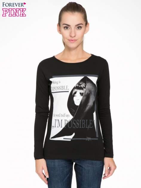 Czarna bluzka z nadrukiem Audrey Hepburn