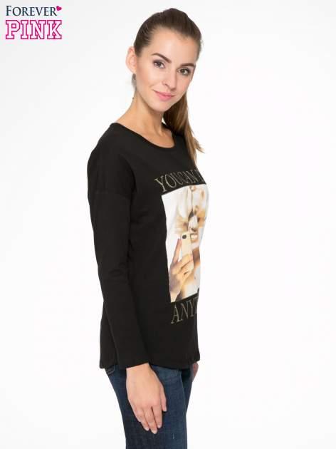 Czarna bluzka z nadrukiem Marylin Monroe                                  zdj.                                  3